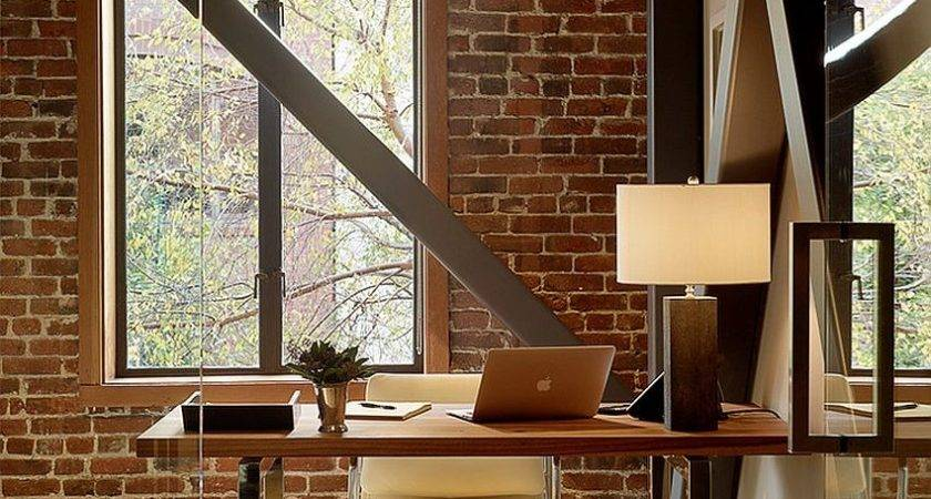 Trendy Textural Beauty Home Offices Brick Walls