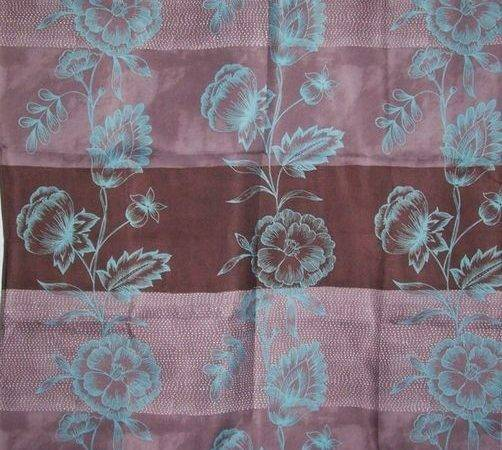 Tropical Teal Brown Hawaiian Floral Flower Fabric Shower