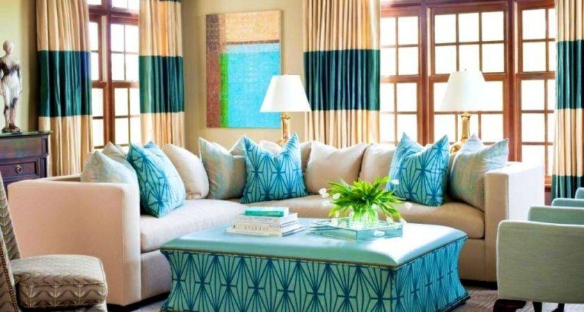 Turquoise Curtains Living Room Peenmedia
