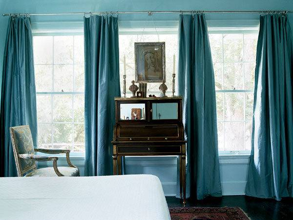 Turquoise Curtains Transitional Bedroom Home Ideas