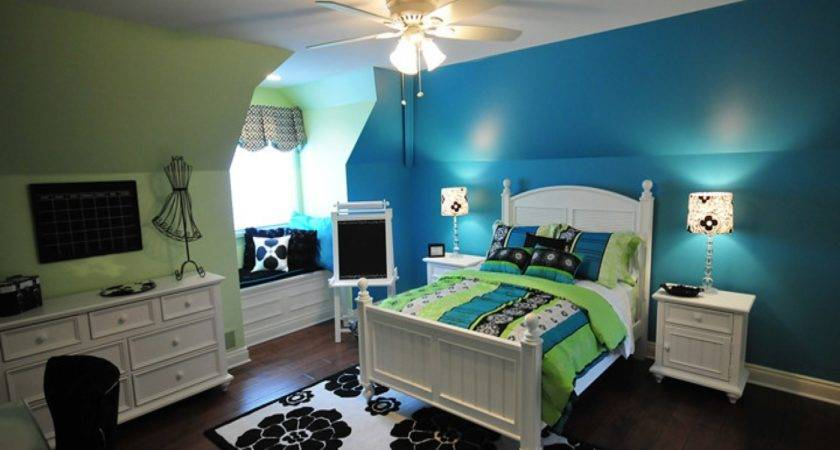 Turquoise Lime Green Bedroom