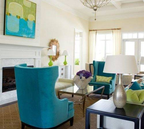 Turquoise Lime Green Living Room Design Ideas