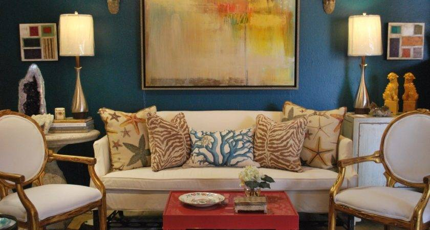 Turquoise Living Room Decor Eclectic