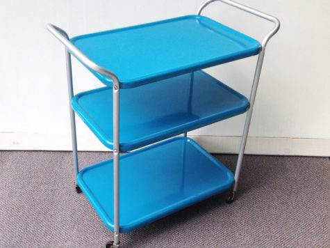 Turquoise Metal Kitchen Cart Vintage Rolling