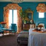 Turquoise Orange Floral Curtains Design Ideas
