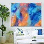 Turquoise Orange Teal Decor Abstract Juliaapostolova