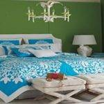 Turquoise Silver Bedding White