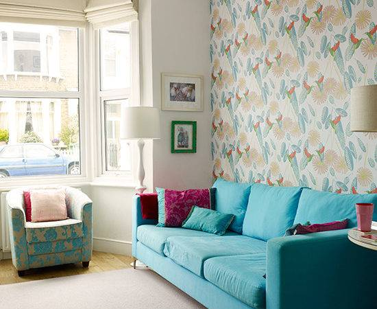 Turquoise Sofa Patterned Feature Wall