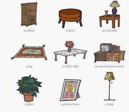 Tuttoprof Inglese Living Room Objects Flashcard