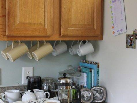 Under Cabinet Coffee Cup Hooks Table