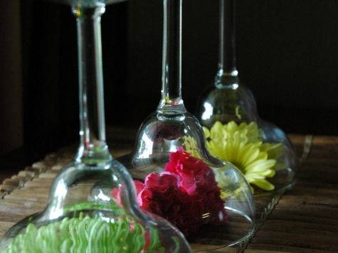 Upside Down Martini Glass Centerpieces