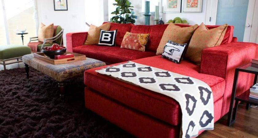 Awesome Red Sofa Living Room Design 26