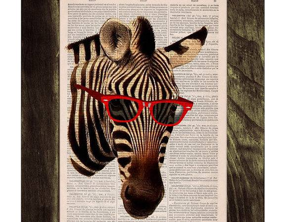 Vintage Book Print Cool Zebra Sunglasses Printed