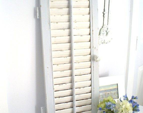 Vintage Cottage Chic Shabby Wall Decor Louvered Shutter