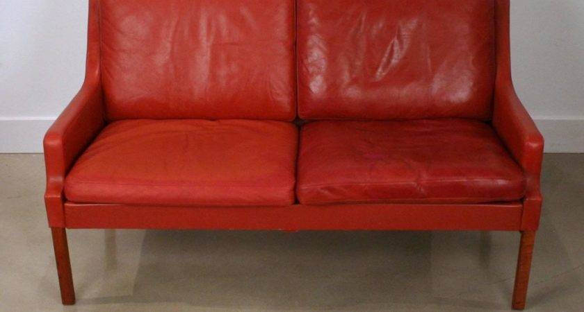 Vintage Danish Red Leather Two Seat Sofa Stdibs