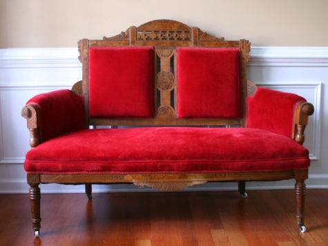 Vintage Eastlake Sofa Antique Settee Love Seat Red Couch