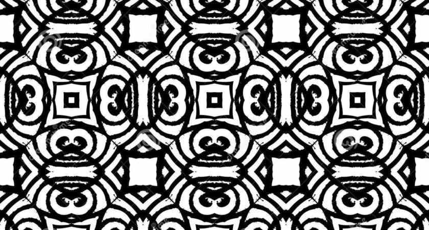 Vintage Vector Art Deco Pattern Black White