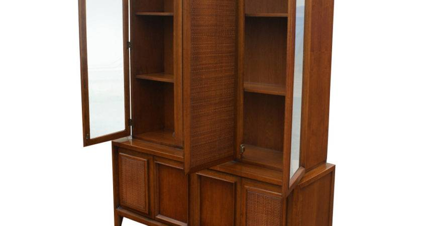 Vintage Wood Cane Glass Hutch China Cabinet