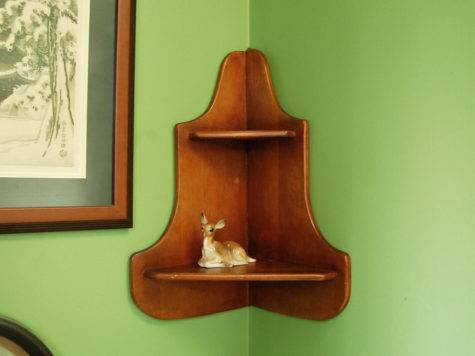 Vintage Wooden Corner Shelf Wood
