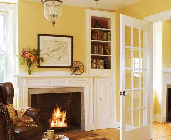 Wall Colors Living Rooms Idea French Doors Yellow Room