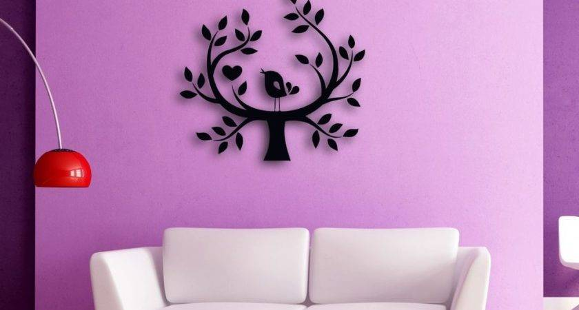 Wall Sticker Tree Bird Hearts Romantic Decor Bedroom