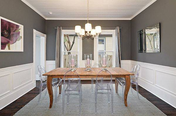 Warm Charcoal Black White Dining Room Decoist