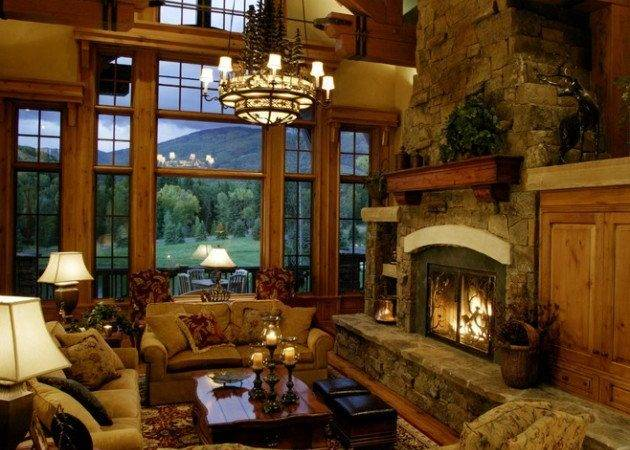 Warm Cozy Rustic Living Room Designs Winter