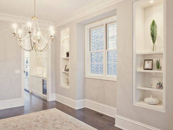 Warm Grey Wall Paint White Trim Pld Homes Via Houzz