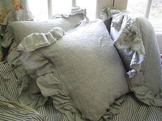 Washed Linen Bedding King Gathered Extra Long Bed Skirtthree