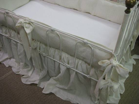 Washed Linen Crib Bedding Cream Tailored Bumpers