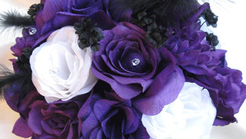 Wedding Bouquet Bridal Silk Flowers Purple White Silver
