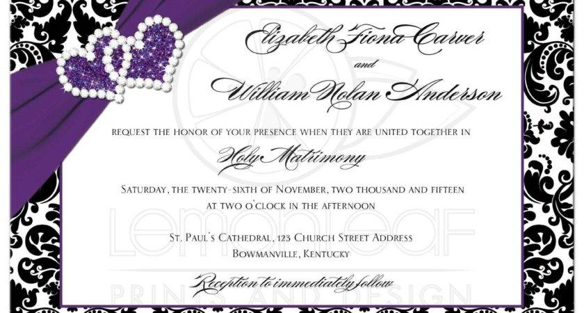 Wedding Invitation Purple Black White Damask Joined