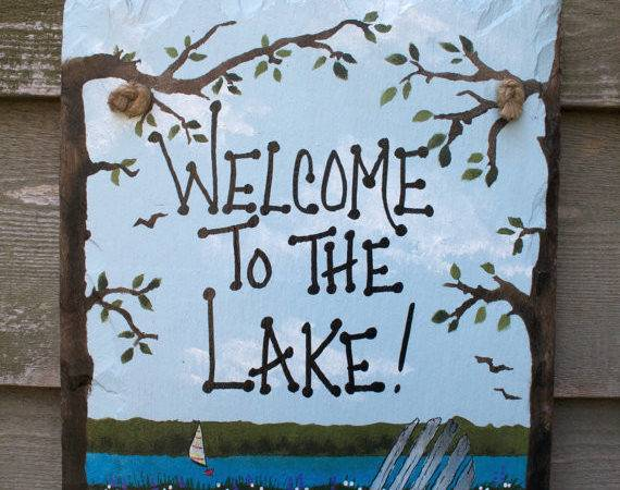 Welcome Lake Hand Painted Beach Chair Wall Hanging