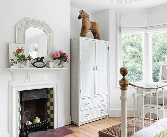 White Bedroom Traditional Fireplace Decorating
