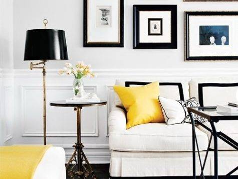 White Black Yellow Living Room Transitional
