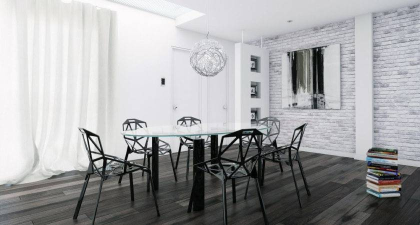 White Brick Wall Dinning Room Black Furniture