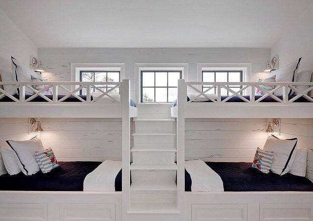 White Built Bunk Beds Navy Bedding Cottage Boy