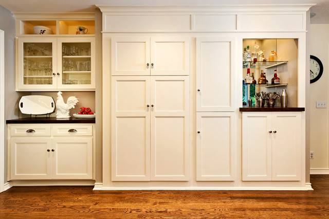 White Built Kitchen Cabinet Pantry Traditional
