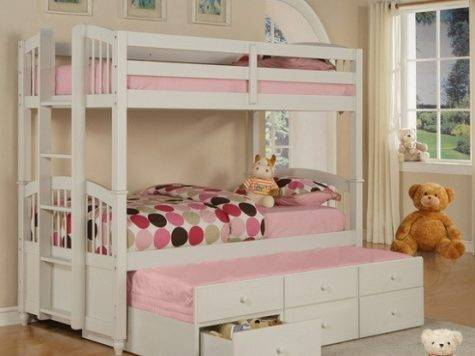 White Bunk Beds Storage Drawers Little Girl