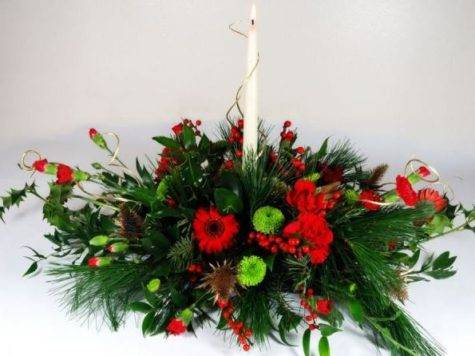 White Candle Christmas Flower Arrangements Res