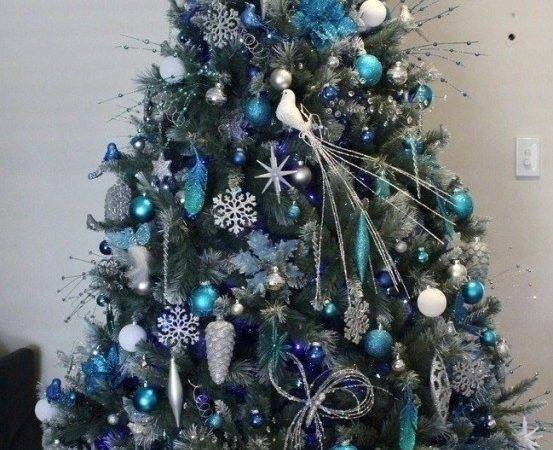 White Christmas Tree Decorations Blue Ideas
