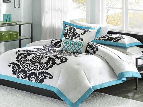 White Comforter Blue Black Accents