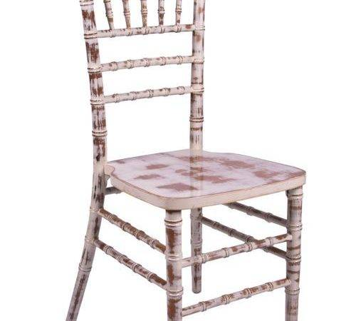 White Distressed Lime Wash Wood Stacking Chiavari Chair