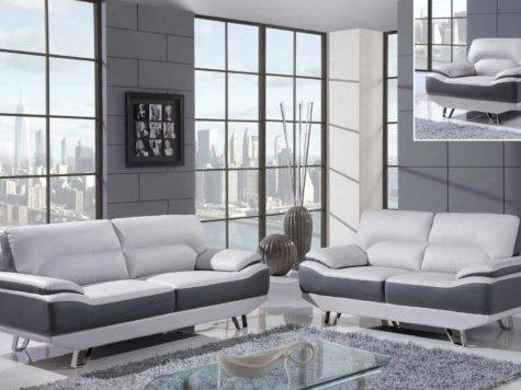 White Gray Piece Bonded Leather Sofa Set Chrome
