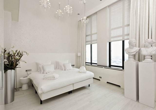 White Hardwood Floors Modern Bedroom San Diego