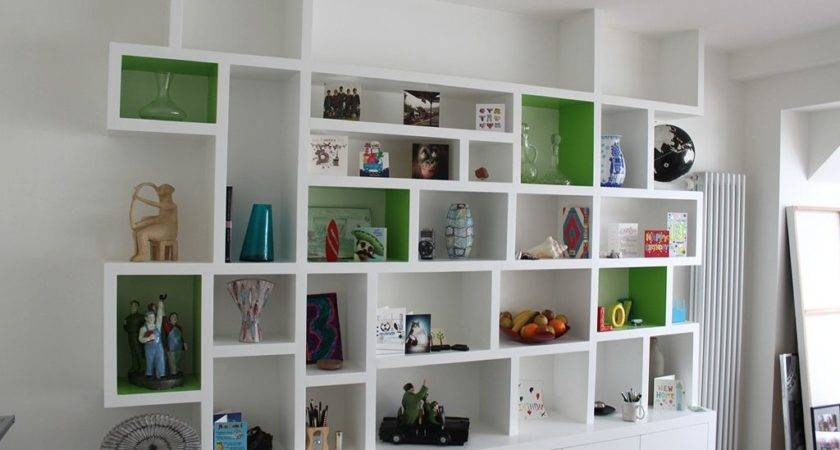 White Open Wall Shelf Designed Cabinet Combine