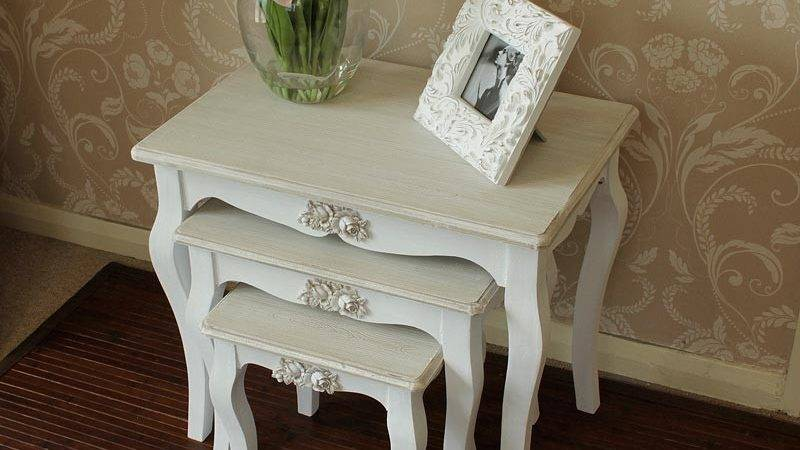 White Set Tables Shabby Vintage Style Chic Home Furniture