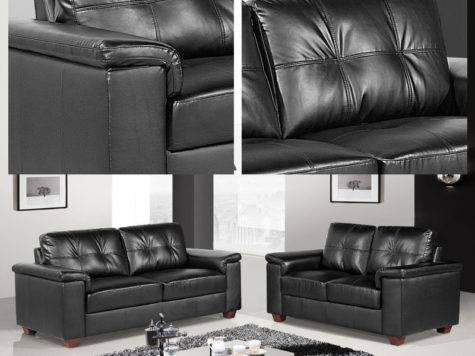 Windsor Black Leather Seater Sofas Two Piece