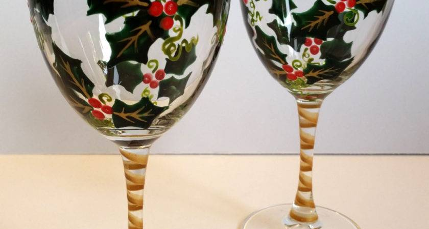 Wine Glasses Hand Painted Holly Holiday Set