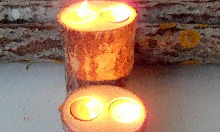 Wood Candle Holders Table Centerpiece Log
